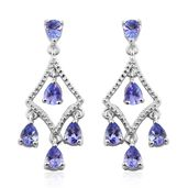 Premium AAA Tanzanite Platinum Over Sterling Silver Chandelier Earrings TGW 1.70 cts.