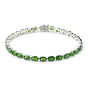 One Day TLV Russian Diopside Sterling Silver Faceted Tennis Bracelet (7.50 In) TGW 15.30 cts.