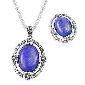 Lapis Lazuli Black Oxidized Stainless Steel Ring (Size 5) and Pendant With Chain (20 in) TGW 15.00 cts.