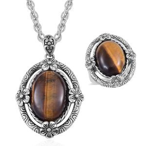 One Day TLV South African Tigers Eye Black Oxidized Stainless Steel Ring (Size 6) and Pendant With Chain (20 in) TGW 15.00 cts.