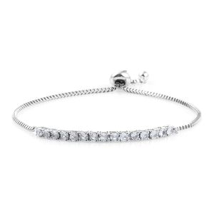 KARIS Collection - Lab Created White Sapphire Platinum Bond Brass Magic Ball Bracelet (Adjustable) (7.50 In) TGW 1.50 cts.