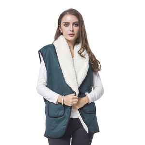 Dark Green 50% Polyester and 50% Faux Suede Fold Over Collar Vest with Pockets (One Size)
