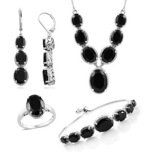 Doorbuster Thai Black Spinel Platinum Over Sterling Silver Bolo Bracelet (Adjustable), Lever Back Earrings, Ring (Size 6) and Necklace (18.00 In) TGW 58.50 cts.