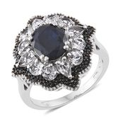 Kanchanaburi Blue Sapphire, White Topaz, Thai Black Spinel Platinum Over Sterling Silver Ring (Size 6.0) TGW 6.32 cts.