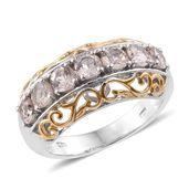 Marropino Morganite 14K YG and Platinum Over Sterling Silver 7 Stone Ring (Size 5.0) TGW 1.55 cts.