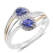 Premium AAA Tanzanite, Cambodian Zircon 14K YG and Platinum Over Sterling Silver Bypass Ring (Size 10.0) TGW 0.98 cts.