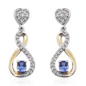 Premium AAA Tanzanite, Cambodian Zircon 14K YG and Platinum Over Sterling Silver Dangle Earrings TGW 0.76 cts.