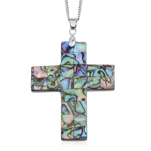 Shell, Abalone Shell Silvertone Cross Pendant With Chain (22 In)