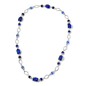 Lapis Lazuli, Blue Glass Black Beads Oxidized Silvertone Necklace (34 in) TGW 443.50 cts.