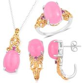 Burmese Pink Jade, Orissa Rhodolite Garnet 14K YG Over and Sterling Silver J-Hoop Earrings, Ring (Size 8) and Pendant With Chain (18 in) TGW 24.33 cts.