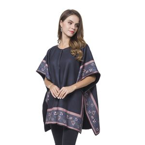 Floral Pattern Multi Wear Reversible Poncho with Snap Buttons (One Size)