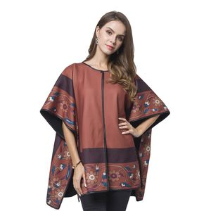 Cognac Floral Pattern 95% Viscose & 5% Spandex Multi Wear Reversible Poncho with Snap Buttons (One Size)