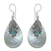 Bali Legacy Collection Mother of Pearl, Arizona Sleeping Beauty Turquoise Sterling Silver Earrings TGW 0.49 cts.