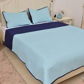 Light Blue and Navy Microfiber Coverlet (108x94 in) and Sham (20x36 in)