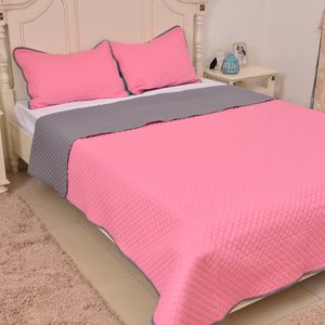 Pink and Gray Microfiber Coverlet (90x94 in) and Sham (20x26 in)