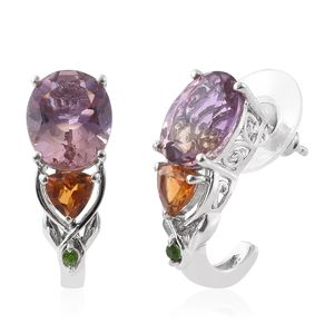 Anahi Ametrine, Santa Ana Madeira Citrine, Russian Diopside Platinum Over Sterling Silver J-Hoop Earrings TGW 7.71 cts.