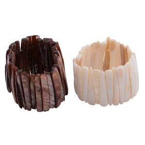 Set of 2 Brown and White Shell Bracelets (Stretchable)