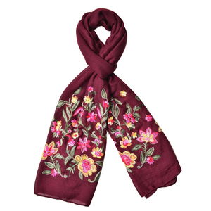 Burgundy Floral Embroidery 100% Polyester Scarf (70x28 in)