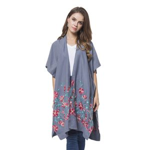 Grey Floral Embroidery 100% Polyester Open Front Kimono (One Size)