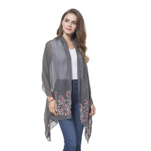 Gray 100% Polyester Embroidered Paisley Pattern Shawl or Scarf (72x28 in)