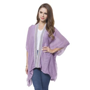 Purple 100% Polyester Kimono with Embroidery Lace (35.43x27.56 in)