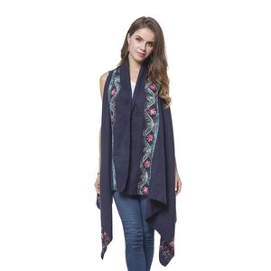 Navy Floral Embroidery 100% Polyester Sleeveless Drape Kimono (One Size)