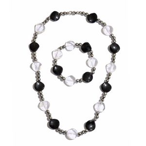 Hematite, Brazilian Crystal Quartz, Black Agate Sterling Silver Bracelet (7.50 in) and Necklace (20.00 In) TGW 370.00 cts.