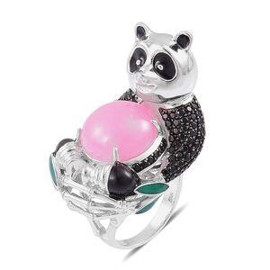 Burmese Pink Jade, Thai Black Spinel Black Rhodium Sterling Silver Panda Ring (Size 5.0) TGW 15.38 cts.