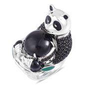 Burmese Black Jade, Thai Black Spinel Black Rhodium Sterling Silver Panda Ring (Size 11.0) TGW 15.38 cts.