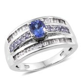 Premium AAA Tanzanite, White Topaz Platinum Over Sterling Silver Ring (Size 6.0) TGW 2.25 cts.