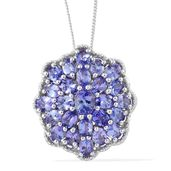 Karen's Fabulous Finds Tanzanite Platinum Over Sterling Silver Floral Pendant With Chain (20 in) TGW 4.54 cts.