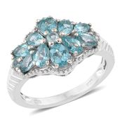 Madagascar Paraiba Apatite Platinum Over Sterling Silver Ring (Size 6.0) TGW 2.50 cts.