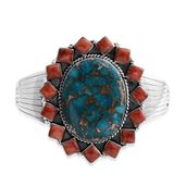 Santa Fe Style Mojave Blue Turquoise, Spiny Oyster Shell Red Sterling Silver Cuff (7.50 In) TGW 30.00 cts.