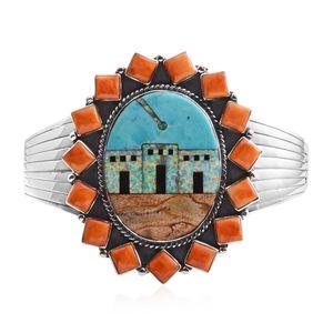 Santa Fe Style Kingman Turquoise, Multi Gemstone Sterling Silver Cuff (7.50 In) TGW 5.75 cts.