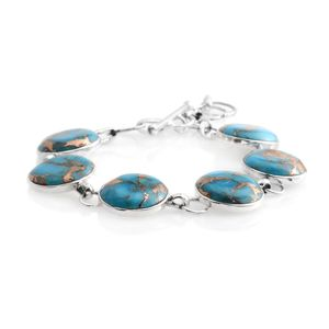 Santa Fe Style Mojave Blue Turquoise Sterling Silver Bracelet (6.50-8.00In) TGW 10.50 cts.
