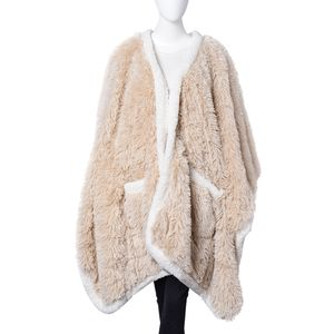 Cream 100% Polyester Long Pile Wrap with Sherpa Border (58x72 in)