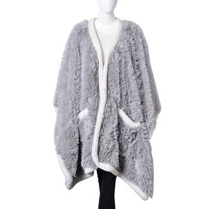 Gray 100% Polyester Long Pile Wrap with Sherpa Border (58x72 in)