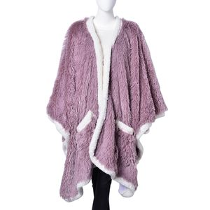 Light Pink 100% Polyester Long Pile Wrap with Sherpa Border (58x72 in)