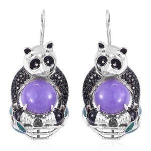 Burmese Purple Jade, Thai Black Spinel Black Rhodium and Sterling Silver Panda Drop Lever Back Earrings TGW 25.10 cts.