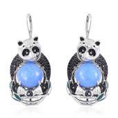 Burmese Blue Jade, Thai Black Spinel Black Rhodium and Sterling Silver Panda Drop Lever Back Earrings TGW 25.10 cts.