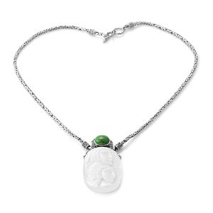Bali Goddess Collection Carved Bone, Mojave Green Turquoise Sterling Silver Borobudur Necklace (18 in) TGW 46.48 cts.