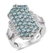 Madagascar Paraiba Apatite, White Topaz Platinum Over Sterling Silver Cluster Ring (Size 7.0) TGW 4.34 cts.