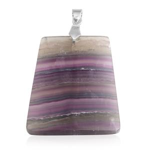 African Fluorite Silvertone Pendant without Chain TGW 111.00 cts.