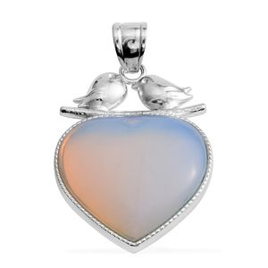 Opalite Silvertone Heart Pendant without Chain TGW 55.00 cts.