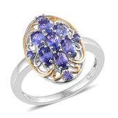 Premium AAA Tanzanite 14K YG and Platinum Over Sterling Silver Ring (Size 6.0) TGW 1.72 cts.