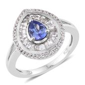 Premium AAA Tanzanite, White Topaz Platinum Over Sterling Silver Ring (Size 7.0) TGW 1.82 cts.