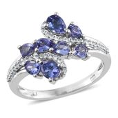 Premium AAA Tanzanite, Cambodian Zircon Platinum Over Sterling Silver Ring (Size 10.0) TGW 1.85 cts.