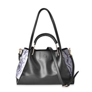 Black with Black & White Snake Skin Pattern Faux Leather Tote Bag (14.2x6x8.4 in)