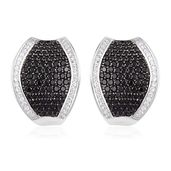 Thai Black Spinel, White Zircon Black Rhodium Sterling Silver Concave Cluster Latch Back Earrings TGW 4.50 cts.