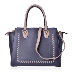 Navy and Gray Faux Leather Stitched Pattern Handbag (14x5x11 in) with Standing Studs and Removable Strap (42 in)